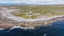 Aerial Shot Of The Lighthouse On Inish Oirr