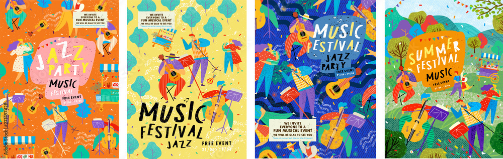 Fototapeta Posters for a summer live music festival or jazz party. Background from vector illustrations of musicians and dancing people.