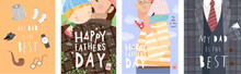 Happy Father's Day! Cute Vector Illustration For A Holidays Poster, Greeting Card Or Banner. Hand-drawn Funny Drawing