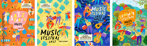 Posters for a summer live music festival or jazz party. Background from vector illustrations of musicians and dancing people. - 271497428