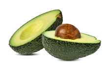 Fresh Avocado Fruits Isolated On White Background With Clipping Path