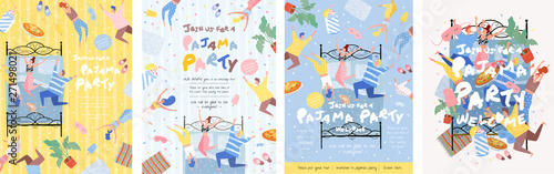 Obraz na plátně Pajama party! Vector poster, cover or banner for a fun event