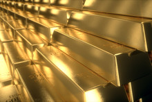 3d Illustration Of Stairs Made Of Gold Bars Or Bullions. Success Or Getting Rich Concepts