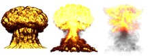 3D Illustration Of Explosion - 3 Huge Highly Detailed Different Phases Mushroom Cloud Explosion Of Atom Bomb With Smoke And Fire Isolated On White