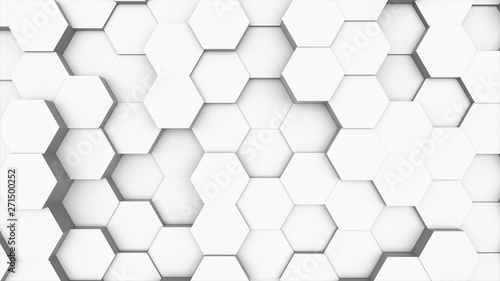 Fototapeta Random waving motion abstract background from hexagon geometric surface loop: light bright clean minimal hexagonal grid pattern, canvas in pure wall architectural white. 3d illustration