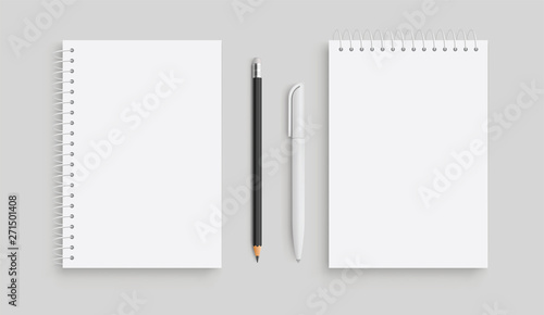 Obraz Realistic vector notebook and white pancil, pen. Front view. - stock vector. - fototapety do salonu