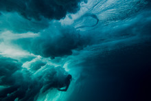Underwater View Of Man Being Wiped Out By Wave