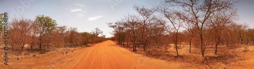 Autocollant pour porte Orange eclat African road in Senegal. Panorama.