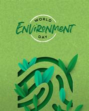 Environment Day Card Of Green Cutout Finger Print