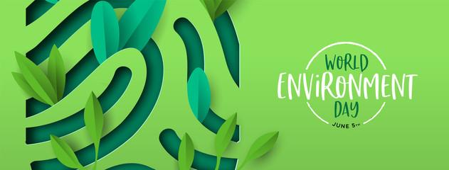 Environment Day banner of green cutout fingerprint