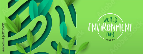 Fotomural Environment Day banner of green cutout fingerprint