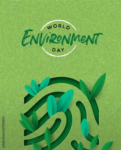 Fototapeta Environment Day card of green cutout finger print obraz