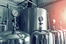 Manometers On Steel Cylinder Storages Or Vats Or Tanks On Juice And Water Production Plant, Industry Machine Equipment