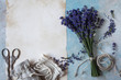 Background with lavender flowers, sachet bags and paper for text