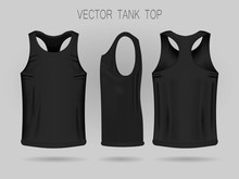Men's Black Tank Top Template In Three Dimensions: Front, Side And Back View. Blank Of Realistic Male Sport Shirts