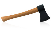 Axe With Black Head And Wooden Handle. Isolated Vector Illustration On White Background.