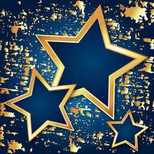 Golden Stars On Blue Background Festive Beautiful Abstraction