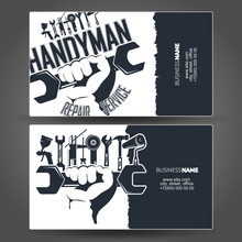 Tool In Hand Design Business Cards For Handyman