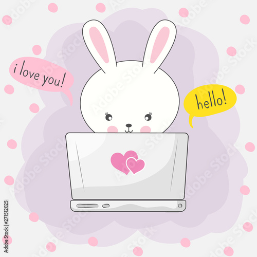 Cute cartoon bunny playing in computer game through the Internet.