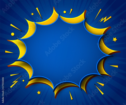 Comics Background Cartoon Poster In Pop Art Style With Yellow