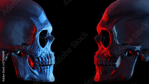 Poster Pierre, Sable Blue and red dark skulls facing each other