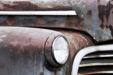Old Car Fender, Headlight, Grill And Hood Detail.