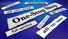 One-Stop Shop Newspaper Headlines Full Service Store Business 3d Illustration