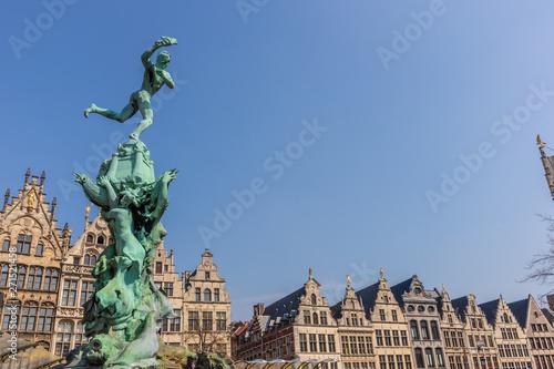 Antwerp, Belgium - APRIL 7, 2019: Brabo fountain, center of Antwerp.