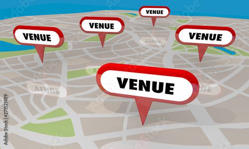 Canvastavla Venue Best Spots Comparisons Map Pins Locations 3d Illustration