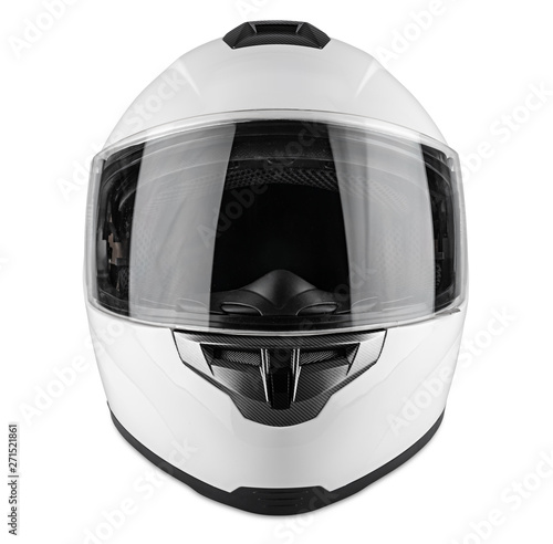 White motorcycle carbon integral crash helmet isolated white background Fototapet