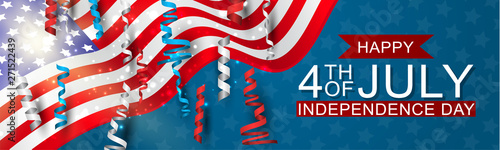 4th of July United States national Independence Day celebration banner with blue, red, and white confetti for a website header or advertisement print.