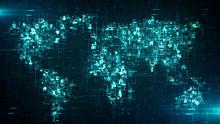 Global Business Cloud Computing Service Of Big Data Information Technology  - Conceptual 3D Render