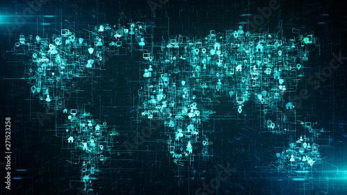 Obraz Global business cloud computing service of big data information technology  - Conceptual 3D render - fototapety do salonu