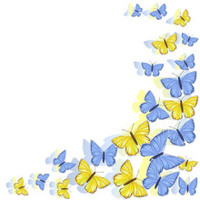Corner Frame Of Yellow, Blue, White Butterflies Isolated On White Background. Vector Clipart.