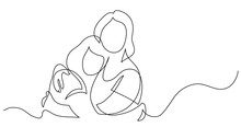 Continuous Line Drawing Of Mother And Daughter Hugging Each Other