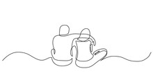 Continuous Line Drawing Of Two Close Friends Sitting Together Hugging Each Other