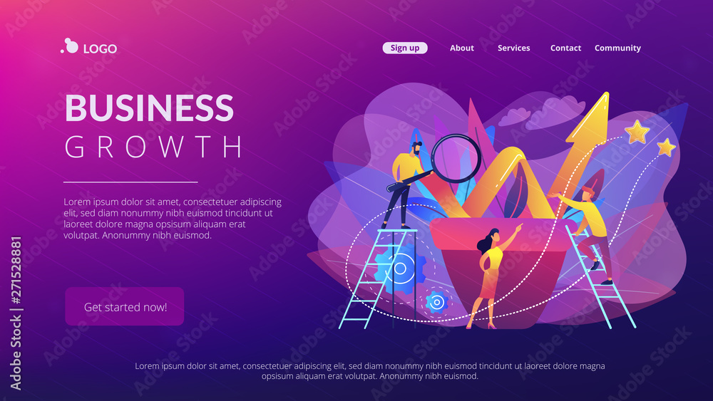 Fototapety, obrazy: Business team work with growth chart in flower pot. Sustainable development and business growth, evolution and progress concept on white background. Website vibrant violet landing web page template.