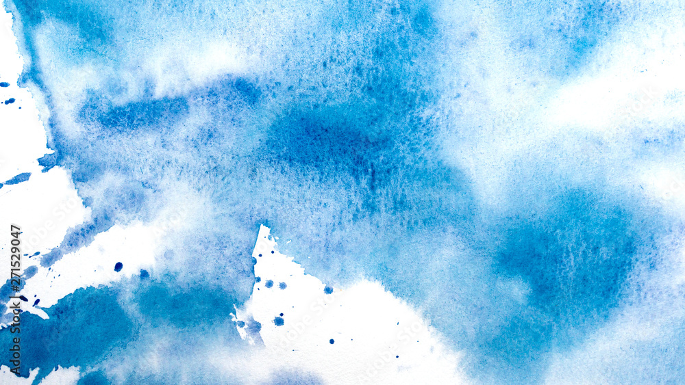 Fototapety, obrazy: Abstract watercolor painting. Textured background. Drips of blue paint on canvas.
