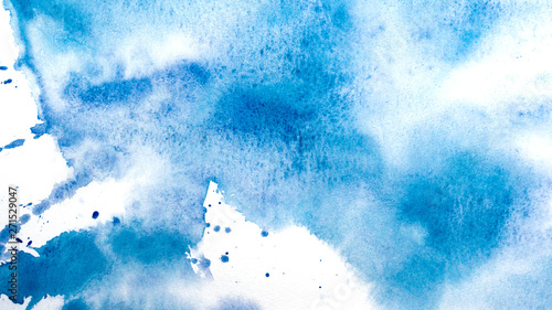 Abstract watercolor painting. Textured background. Drips of blue paint on canvas. - 271529047