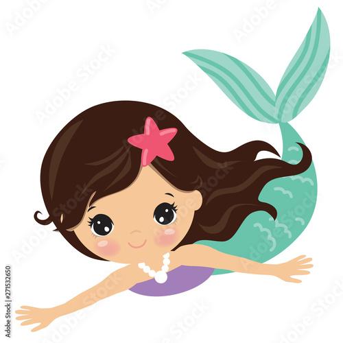 Obraz na płótnie Pretty mermaid vector cartoon illustration