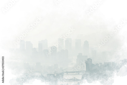Photo  モヤに包まれた東京 Cityscapes of tokyo in Fog