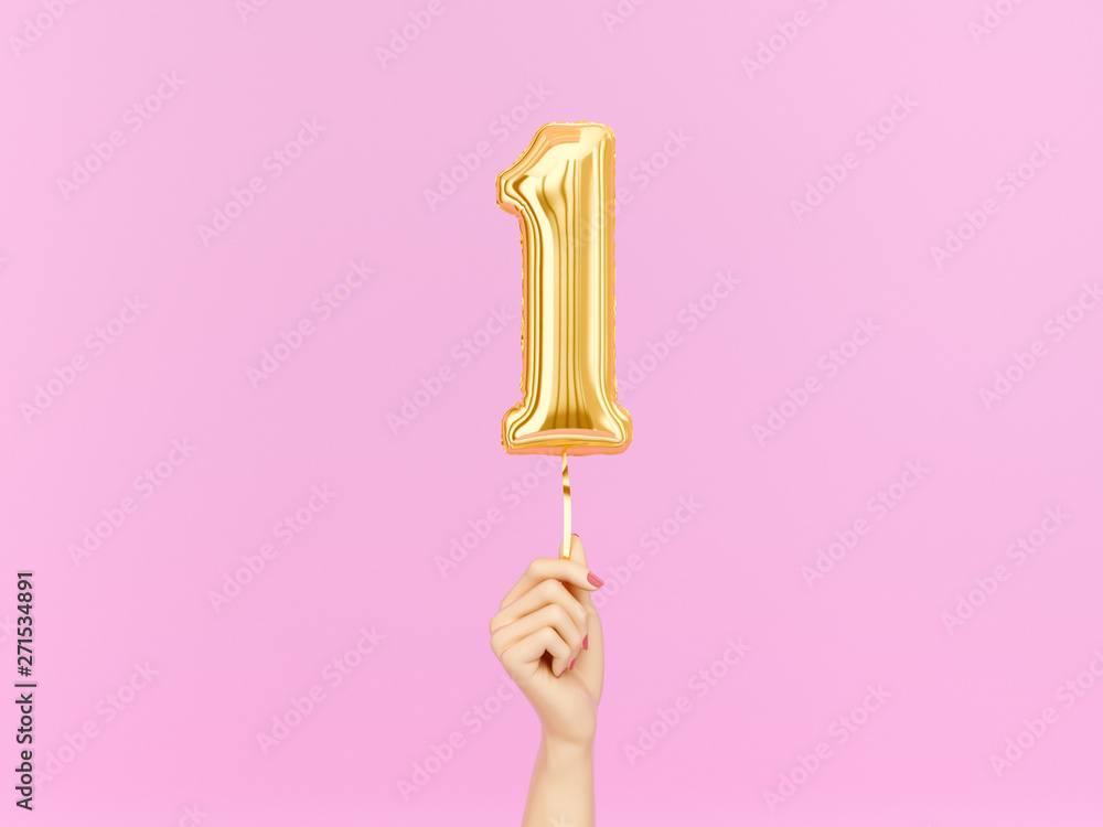 Fototapeta One year birthday. Female hand holding Number 1 foil balloon. One-year anniversary background. 3d rendering