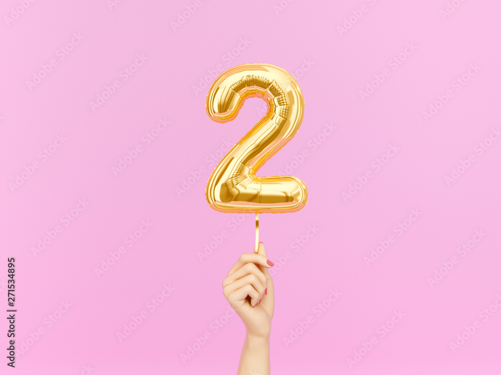 Fototapeta Two year birthday. Female hand holding Number 2 foil balloon. Two-year anniversary background. 3d rendering