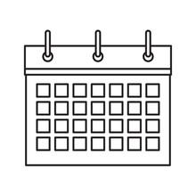 Calendar Flipchart Icon Cartoon Isolated Black And White