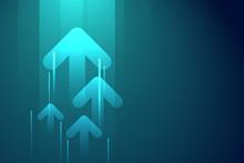 Up Arrows On Dark Blue Abstrac...
