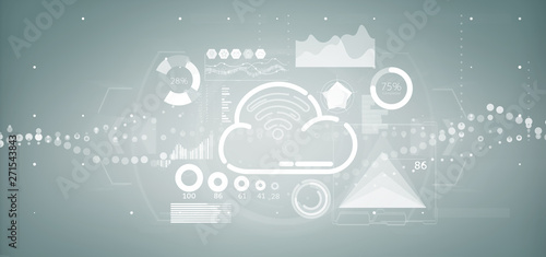 Acrylic Prints Amsterdam Cloud and wifi concept with icon, stats and data 3d rendering