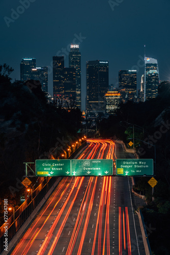 View of the downtown Los Angeles skyline and 110 Freeway at