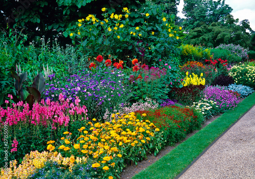 Blocks of colour with mixed planting in a long sunny border in a country garden Fototapete