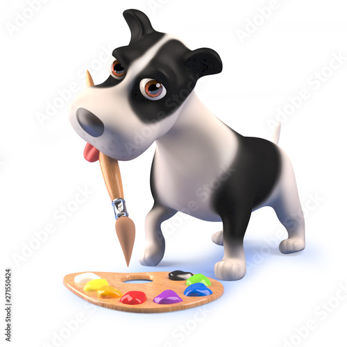 Valokuva  Cute cartoon 3d puppy dog hound playing with a paint brush and palette