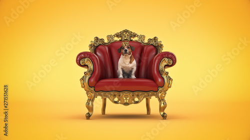 Obraz na plátně  Dog with crown in a chair. 3d rendering